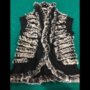 NWOT! Rabbit Fur Black & White Vest